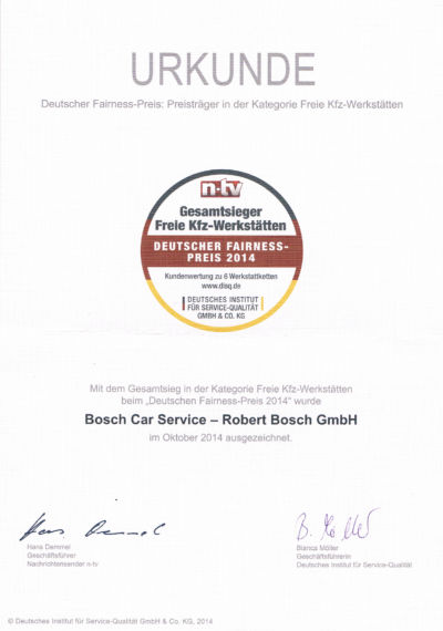 Zertifikate - Bosch Car Service Poisl in Vilshofen